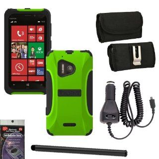 Trident Aegis Green Heavy Duty Hybrid Tough Cover for Nokia Lumia 928 Bundle Pack   5 items. Hard Shell and Silicone Gel, with Screen Protector and Car Charger, Stylus Pen, Radiation Shield and Horizontal Metal Clip Case that fits your phone with the Cover