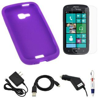 BIRUGEAR Purple Silicone Skin Case Cover + Clear Screen Protector + Car Charger + Travel Charger + Micro USB Data Cable for Samsung ATIV Odyssey SCH i930 (Verizon) with *4 Color Clip Pen* Cell Phones & Accessories
