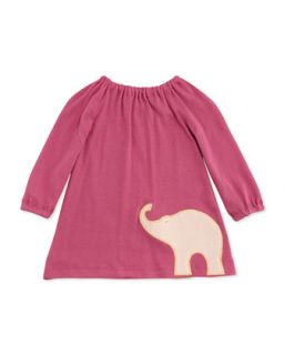 Long Sleeve Elephant Dress, Rose, 3 12 Months