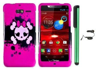 "Pink Black Heart Love Eye Cute Skull Premium Design Protector Hard Cover Case for Motorola DROID RAZR M XT907 (Verizon) + Luxmo Brand Car Charger + Combination 1 of New Metal Stylus Touch Screen Pen (4"" Height, Random Color  Black, Silver, Hot Pink, G"