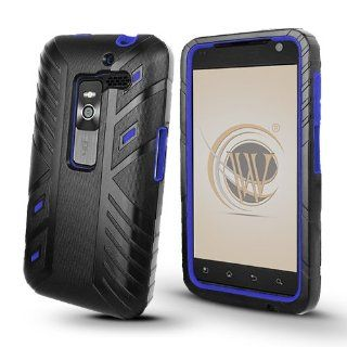 LG Esteem (MS910) Duo Shield Hybrid Case   Black/Blue Cell Phones & Accessories