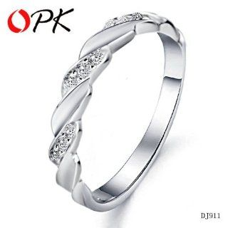 SWALOVE JEWELRY Women WEDDING BANDS FINGER RINGS White Gold Plated Crystal Ring Jewelry engagement 911 Sports & Outdoors