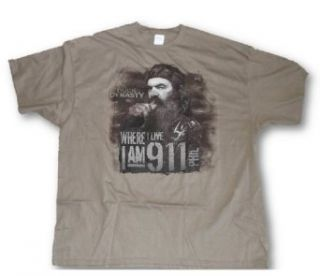 "Duck Dynasty Tee Mens ""Where I Live I Am 9 1 1"" Phil 911 T Shirt, Tan, XL (X Large) Movie And Tv Fan T Shirts Clothing"