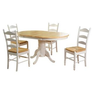 Farmhouse Ladder Back Dining Table Set   White (