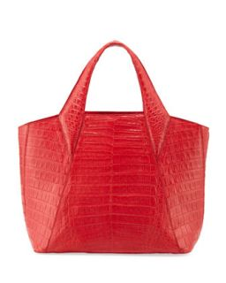 Medium Open Crocodile Tote Bag, Red   Nancy Gonzalez
