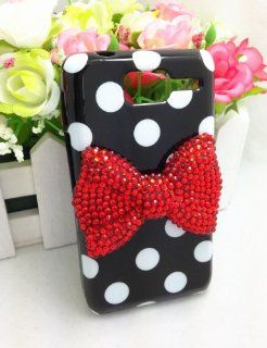 Black Cute Lovely 3D Bling Red Bow Dot Pattern Case Cover For Motorola RAZR D1 XT916 XT918 Cell Phones & Accessories