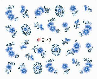 Egoodforyou BLE Nail Art Decal 2D Self Adhesive Nail Decal Stiker (China Cloisonne Style Little Elegant Flowers) with one packaged nail art flower sticker bonus  Beauty