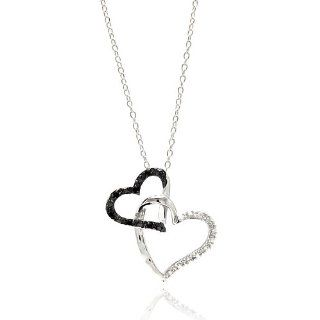 ".925 Sterling Silver Double Black & White CZ Open Heart Charm Necklace with 16"" 18"" Adjustable Chain Pendants Jewelry"