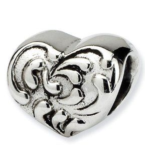 925 Sterling Silver Charm Scroll Heart Jewelry Bead Jewelry