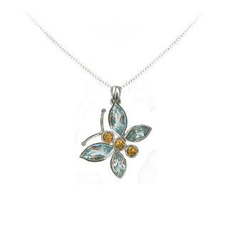 Studio 925 Blue Topaz and Citrine Sterling Silver Butterfly Pendant Willow Company Jewelry