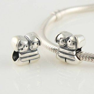 Two Little Girls 925 Sterling Silver Charm Beads for Pandora, Biagi, Chamilia, Troll and More Bracelets Jewelry