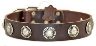 "Dean and Tyler ""SIMPLE TREASURE"", Leather Dog Collar with Solid Nickel Hardware   Brown   Size 18 Inch by 1 1/2 Inch   Fits Neck 16 Inch to 20 Inch  Pet Collars"