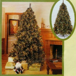 9.5' Pre Lit Mixed Tip Cascade Artificial Christmas Tree Clear Lights #170621C
