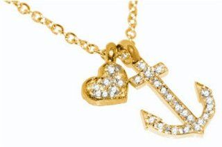 "14 Karat Yellow Gold Rollo Link Necklace, With Sliding Pave Set ""Heart and Anchor"" Diamond Charms. Pendant Necklaces Jewelry"
