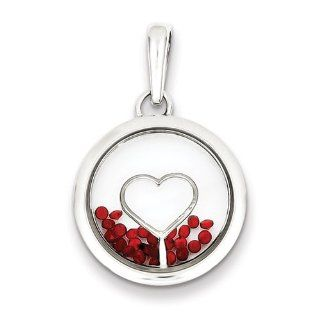 Sterling Silver Heart And Floating Glass Beads Pendant, Best Quality Free Gift Box Satisfaction Guaranteed Jewelry