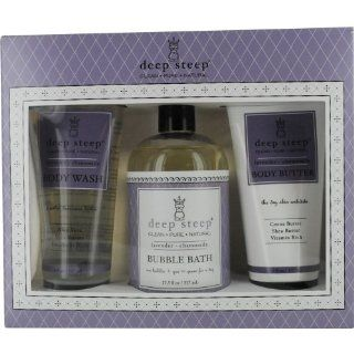 Deep Steep Terrific Trio Gift Set Body Wash and Bubble Bath and Body Butter Lavender Chamomile    1 Set  Skin Care Product Sets  Beauty