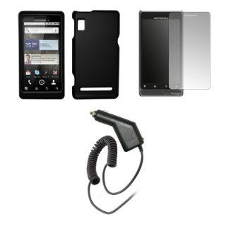 Motorola Droid 2 A955   Black Rubberized Snap On Cover Hard Case Cell Phone Protector + Crystal Clear Screen Protector + Rapid Car Charger for Motorola Droid 2 A955 Cell Phones & Accessories