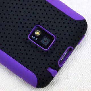 MINITURTLE, 2 in 1 Dual Layer Mesh Hybrid Hard Phone Case Cover and Clear Screen Protector Film for Android Smartphone TMobile G2x / LG Optimus 2x P 990 P 999 (Black / Purple) Cell Phones & Accessories