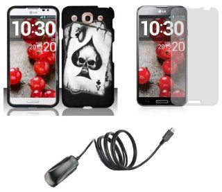 LG Optimus G Pro E980 (AT&T)   Accessory Combo Kit   Black Ace Skull Design Shield Case + Atom LED Keychain Light + Screen Protector + Micro USB Wall Charger Cell Phones & Accessories