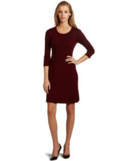 Anne Klein Women's A Line Sweater Dress With Pockets, Lacquer, Small