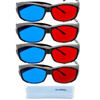 BIRUGEAR 4x 3D Red/Cyan Glasses Black Cover Style for Watching 3D Movies and Playing Games on TV/Monitor Flat Screens with **Cleaning Cloth** Computers & Accessories