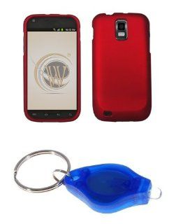 Premium Red Rubberized Shield Hard Case Cover + Atom LED Keychain Light for Samsung Galaxy S II SGH T989 (T Mobile) Cell Phones & Accessories
