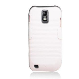 Aimo Wireless SAMT989PCBEC008 Shell Holster Combo Protective Case for Samsung Galaxy S2 T989 with Kickstand Belt Clip and Holster   Retail Packaging   White Cell Phones & Accessories