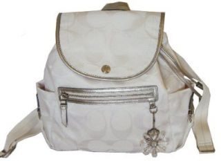 Coach Signature Daisy Kyra Nylon Backpack Bag 19715 White Silver Shoes