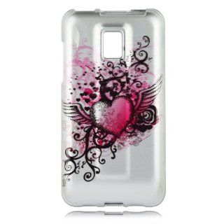 Talon Phone Case for LG Optimus 2X, P990, and G2X   Grunge Heart   T Mobile   1 Pack   Case   Retail Packaging   Hot Pink/Silver Cell Phones & Accessories