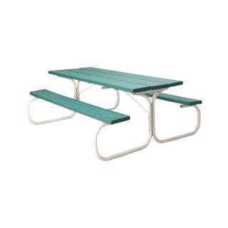 Leisure Time Commercial Injection-Molded Picnic Table with Steel Frame — 72in.L, Green, Model# 25067  Picnic Tables