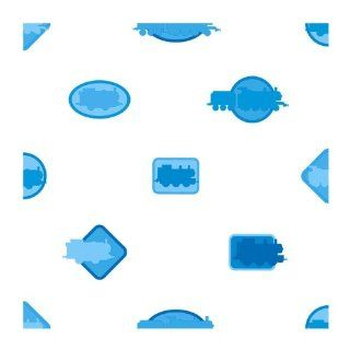 York Wallcoverings ZB3287 Thomas Icons Wallpaper, White/Light Blue/Dark Blue