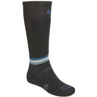 Point6 Surefoot Ski Socks   Merino Wool, Lightweight, Over the Calf (For Men and Women)   BLACK/OCEAN/SILVER/TEAL  Hiking Socks  Sports & Outdoors