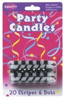 BLACK White STRIPES Spiral ZEBRA Polka DOT (20) BIRTHDAY Cake Party CANDLES Health & Personal Care