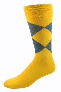 Men's Bright Yellow Argyle Socks Clothing
