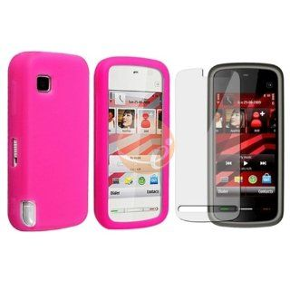Hot Pink Silicone Skin Case for Nokia 5230 Comes With Music + Reusable Screen Protector Cell Phones & Accessories