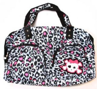 Clover Two Frony Pocket Hand Bag   Pink Cheetah Animal Print with Cute Skull Clothing