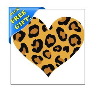 "Set of 12   5"" Leopard Print Heart Shape   Reusable Wall Decal Stickers   [Easy Peel and Stick, Removable, Repositionable] + with Free Sticky Notepad   Vinyl Decal"
