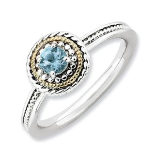 Stackable Expressions™ Rope Framed Blue Topaz Ring in Sterling