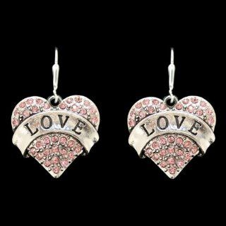 From the Heart Valentine's Day or any Day Pink Rhinestone Crystal Heart Earrings   1 1/2 inch long earrings.LOVE across the Center of the Earring.Rhinestones Sparkling  Perfect Gift for the Woman you Love Wonderful Valentines Day Gift. Sports &am
