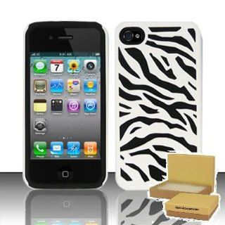 TRENDE   iPhone 4 4S Case White On Black Zebra Design Dual Layer Protection Tuff Phone Cover + Free Gift Box (Compatible Models iPhone 4s, iphone 4) Cell Phones & Accessories