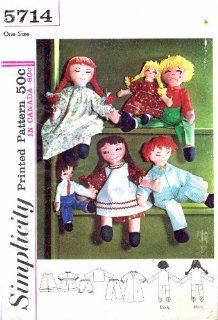 Simplicity 5714 Boy Girl Rag Dolls Vintage Sewing Pattern