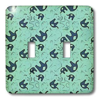 3dRose lsp_48600_2 Double Toggle Switch with Blue Elephants Animals Art   Switch Plates