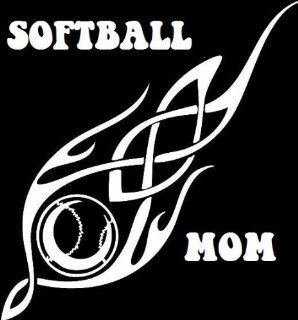 "12"" WHITE Tribal Softball Mom. Vinyl die cut bumper sticker decal for any smooth surface such as windows bumpers laptops or any smooth surface.   Wall Decor Stickers"