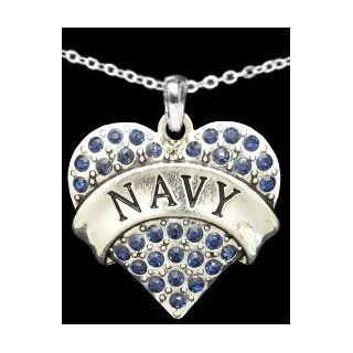 From the Heart Valentine's Day, Mother's Day, or any Day Dark BLUE Crystal Rhinestone Heart Necklace celebrating The USA NAVY Military Pendant with NAVY engraved in the center. Heart Pendant is approximately 1 1/2 inch long with Dark Blue Crysta