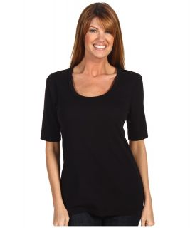 Red Dot Cotton Knits 1/2 Sleeve Scoop Neck Womens T Shirt (Black)