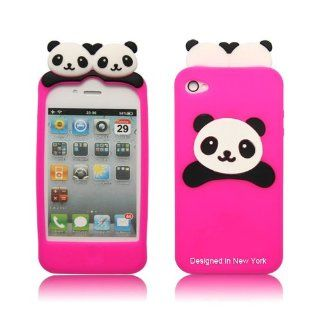 Cute PANDA Soft Silicon Back Case Cover skin for iPhone 4 4G Hot Pink Cell Phones & Accessories