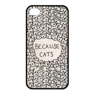 Cool Cup Design, Funny Because Cats Apple Iphone 4or4s Best Case (Black & White) Cell Phones & Accessories