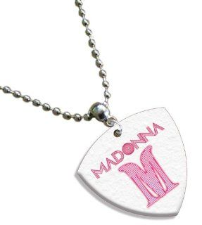 Madonna Chain / Necklace Bass Guitar Pick Both Sides Printed Musical Instruments
