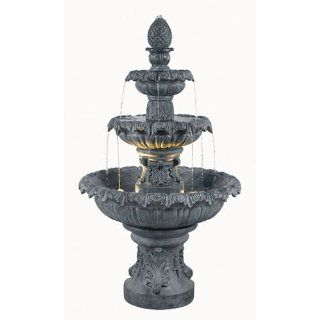 Stylish 3 tier Free standing Outdoor Lighted Water Fountain. Great Bird Bath or Beautiful Fixture for the Yard or Garden. This High Quality Large Floor Fountain Is Comes with the Bulbs. The Lights Create a Nice Ambiance. An Inviting Mediterranean Feel  Pa