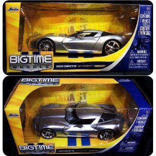 Jada Toys 1/24 Scale Diecast Big Time Muscle 2009 Corvette Sting Ray Concept in Color Silver Toys & Games